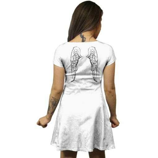White Feathered Wings Tunic Dress