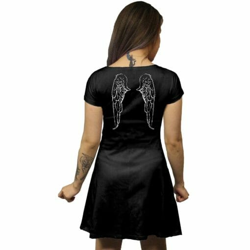 Black Feathered Wings Tunic Dress
