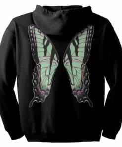 Green Fairie Wings Zip Hoodie