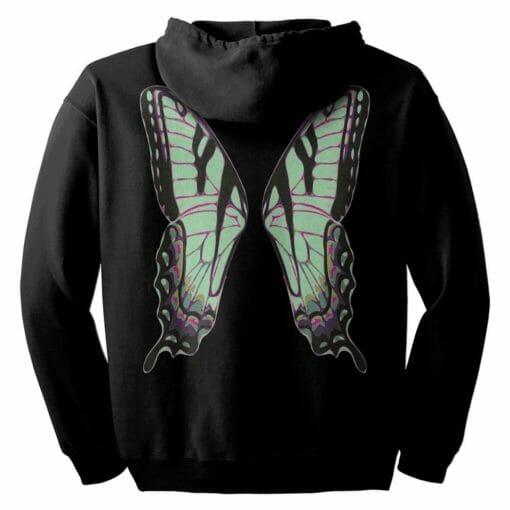 Green Fairie Wings Zip Hoodie