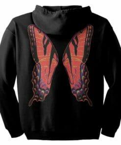 Red Fairie Wings Zip Hoodie