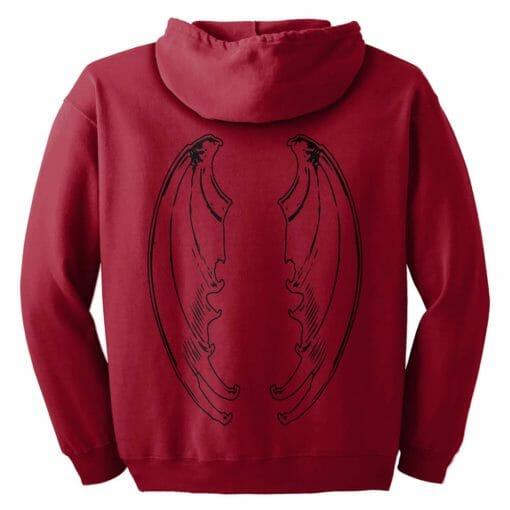Red Dragon Wing Zip Hoodie
